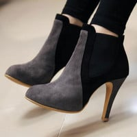 European Style Mixing Color Pointed-toe High-heeled Boot