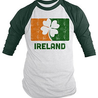 Shirts By Sarah Men's Ireland 3/4 Sleeve Raglan St. Patrick's Day Distressed Shirt