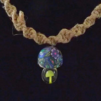 Hemp Spiral Necklace with Fimo Mushroom Top 20 Inch Necklace
