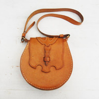 Vintage 1970s Tan Leather Flip Bag Purse Boho Hippie / Shoulder Bag / Handmade