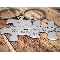 I love you to infinity and Beyond couples keychains, puzzle piece keychain set , Anniversary Gift
