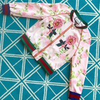 """Gucci"" Women Fashion Multicolor Letter Flower Tiger Head Embroidery Print Long Sleeve Zip Cardigan Jacket Coat"
