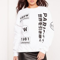 Missguided - Paris Slogan Sweatshirt White