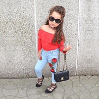 Girls Clothes Summer Children Girls Clothing Sets Cotton Tops Leggings Jean Baby Kids 2Pcs Suits