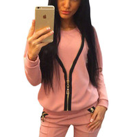 Pink Zip Detail Casual Two Piece Pant Set