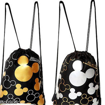 MICKEY MOUSE SILVER&GOLD SHAPES DRAWSTRING BAG BACKPACKS TRAVEL STRING POUCHES