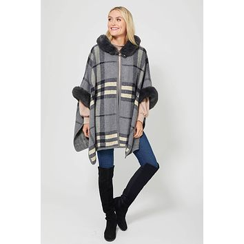 American Fit Plaid Cape with Faux Fur Trim