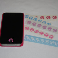 6 Tiny iPhone Monogram Decals for Home Button decal by MUTShop
