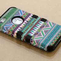 Stylus + For iPhone 5 5th 3-Piece Hybrid High Impact Case Tribal Black Silicone