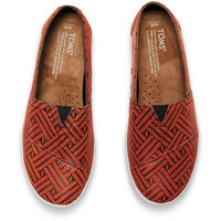 RED LEATHER REPTILE WOMEN'S AVALON SLIP-ONS