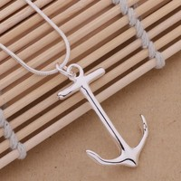 Ladies Charming Anchor Pendant Necklace Chain 925 Sterling Silver Plated Fashion Jewelry = 1645899780