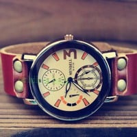 Retro neutral leather watch