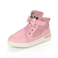 New Hot Girl's Shoes Cartoon Hello Kitty Sequins Fashion Pink Princess Sweet Children Kids Single Shoes High Top Winter Sneaker