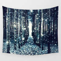 Magical Forest Teal Gray Elegance Wall Tapestry by 2sweet4words Designs