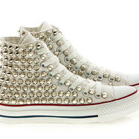 Studded White Converse Silver Studs with converse White high top by CUSTOMDUO on ETSY