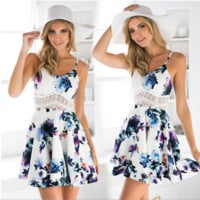 White condole belt around the waist lace hollow out print dress