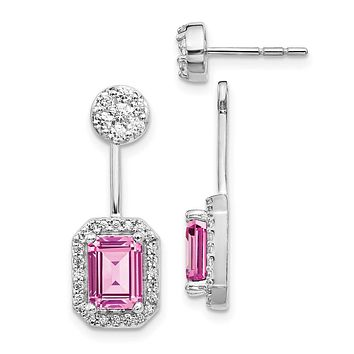 14k White Gold Real Diamond/Created Pink Sapph. Front/Back Earrings