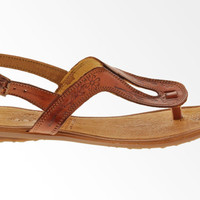 Women's T-Strap Sandals 100% Genuine Leather - Brown LAST ONES!