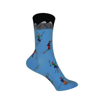 Skiing Crew Socks in Sky Blue
