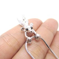 Mouse Dangling Off Chain Pendant Necklace in Silver | Animal Jewelry