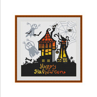 Halloween cross stitch, Happy Halloween, Haunted house, Halloween pumpkin, Halloween cat, Halloween ghost, Instant download Cross stitch PDF