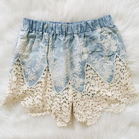 Eve Sky Blue Crochet Shorts