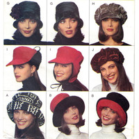 New Vintage Hat Sewing Pattern 10 Version Hat Pattern Unused Butterick 3664 Uncut size Small Medium Large