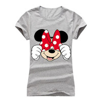 Gray Hip Hop Minnie Mouse Hiding  Fashion Ladies Trendy Top tee t-shirt shirt 001