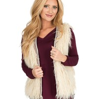 Flying Tomato Women's Ivory with Tribal Taping Faux Fur Vest