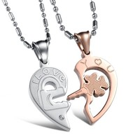 """Magicpieces """" I Love You """"Heart AAA High Quality Cz Titanium Stainless Steel Couple Necklace"""