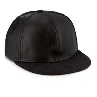 BLACK LEATHERLOOK SNAPBACK CAP - Hats - Shoes and Accessories