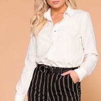 Busy Bee Ivory Button Down Top
