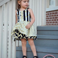 Diamonds are a Girls Best Friend~Collection Gold Black and Chevron Poppy Peekaboo Dress for Infants, Toddlers, Girls Sizes 6 mos to Size 10