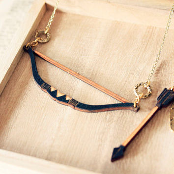 Hunger games Bow and Arrow Necklace   Tribal by StrangelyYours