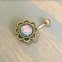 Belly Button Ring Blue Faux Opal Jewelry Flower Rose Daisy Belly Button Ring Navel Piercing Stud Barbell Belly Button Ring