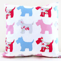 Dog cushion cover, small 12 inch pillow cover with blue pink red dogs perfect kid's room decor, small throw pillow , handmade in the UK