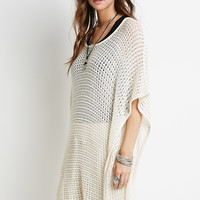 Open-Knit Poncho Sweater