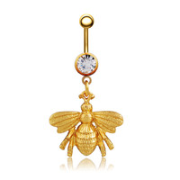 New Charming Dangle Crystal Navel Belly Ring Bling Barbell Button Ring Piercing Body Jewelry = 4804889348