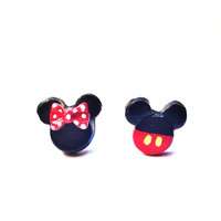 Handmade Polymer Clay Minnie and Mickey Mouse Inspired Earrings - 14mm - 3 Options Available