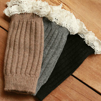 Ribbed boot cuff with lace - Multiple Color options