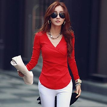 Long Sleeve Tshirts Deep V Neck Tops Woman Knitted Cotton T Shirt Womens Tee Shirt Femme Plus Size Camisetas Mujer