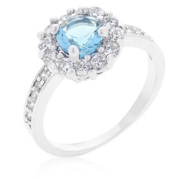 Belle Blue Topaz Halo Engagement Cocktail Ring | 2.5ct | Cubic Zirconia | Silver