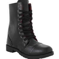 Black Red Plaid Lined Combat Boot