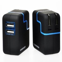 PowerGen PGCHAC31A-BK  Travel Wall Charger with Swivel Plug for iPhone 4/4S and Other Android Devices - Retail Packaging - Black