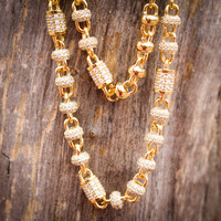 Gold Tone Real Silver Bead Link Chain