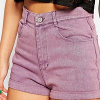 Motel Ibu High Waisted Denim Short In Pastel Lilac