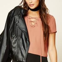Boxy Lace-Up Front Top