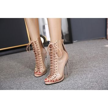 New Summer Sandals Sexy Transparent Gladiator Sandals Cross Strappy Peep Toe Shoes Clear Chunky heels Women Ankle boots
