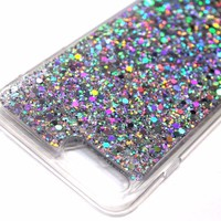 For iPhone 7 - Slim Silver Full Glitter Shiny Hard Rubber TPU Skin Case Cover