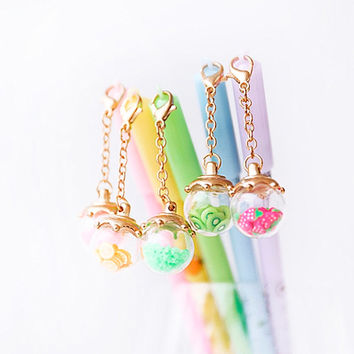 Kawaii Pens with Fruit Crystals Pendant, Cute Stationery Gift, Pens School Supplies